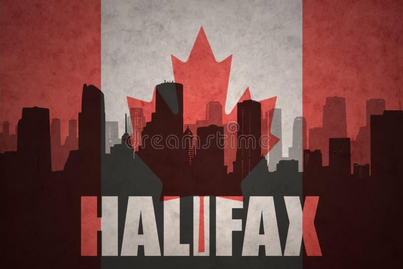 Siluetta astratta della città con testo Halifax alla bandiera canadese d'annata illustrazione di stock
