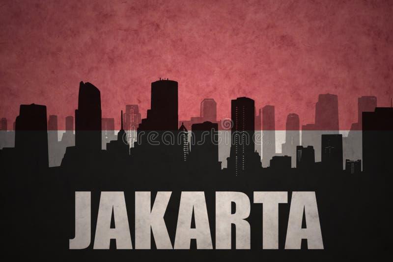 siluetta astratta della città con testo Jakarta alla bandiera indonesiana d'annata royalty illustrazione gratis