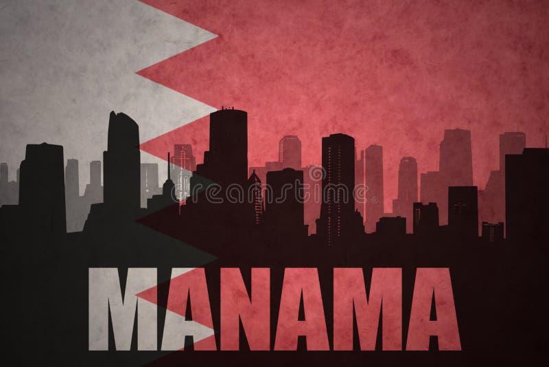 siluetta astratta della città con testo Manama alla bandiera d'annata della Bahrain illustrazione di stock