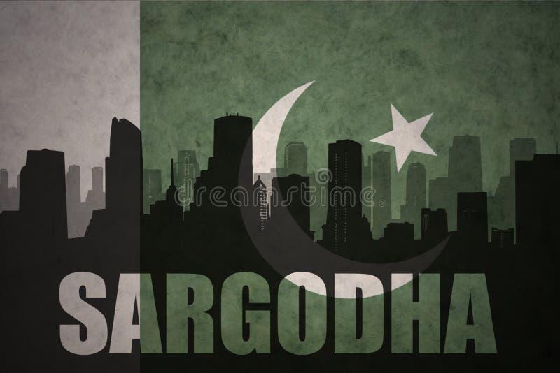 Siluetta astratta della città con testo Sargodha alla bandiera d'annata del pakistan royalty illustrazione gratis