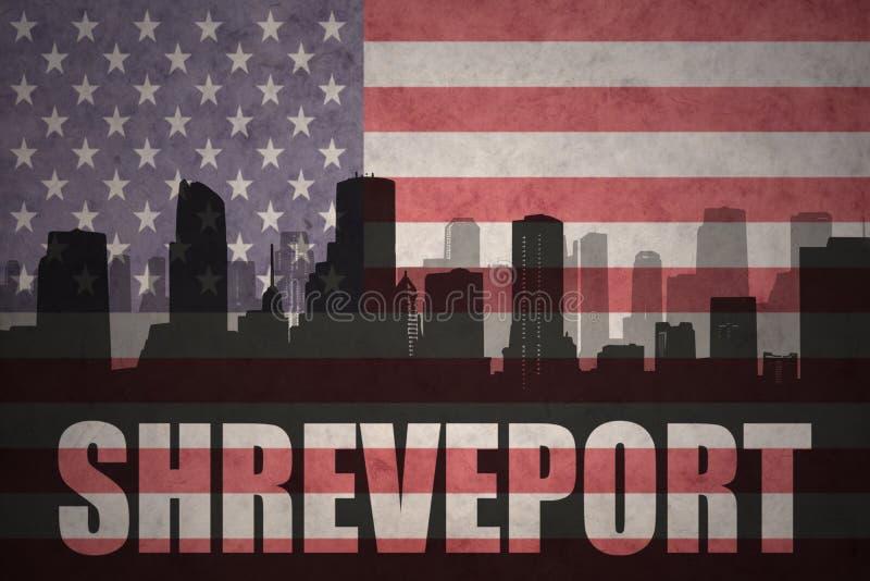 Siluetta astratta della città con testo Shreveport alla bandiera americana d'annata fotografia stock