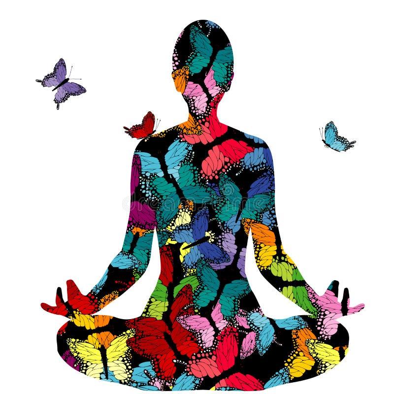 Siluetta astratta della donna nella posa di yoga con le farfalle royalty illustrazione gratis