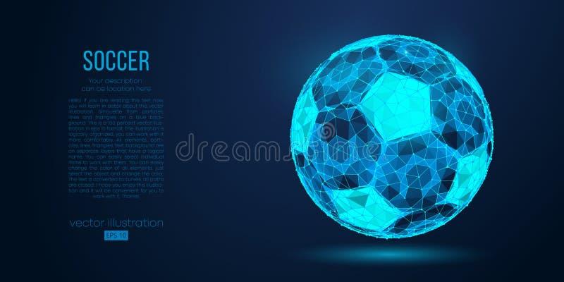 Siluetta astratta di un pallone da calcio dalle linee e dai triangoli delle particelle su fondo blu Illustrazione di vettore di c illustrazione vettoriale