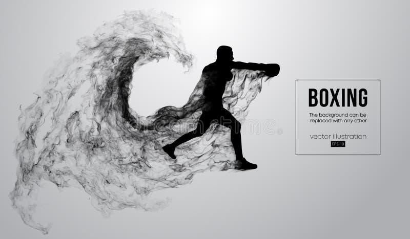 Siluetta astratta di un pugile, Muttahida Majlis-E-Amal, combattente del ufc sui precedenti bianchi Il pugile è vincitore Illustr illustrazione vettoriale
