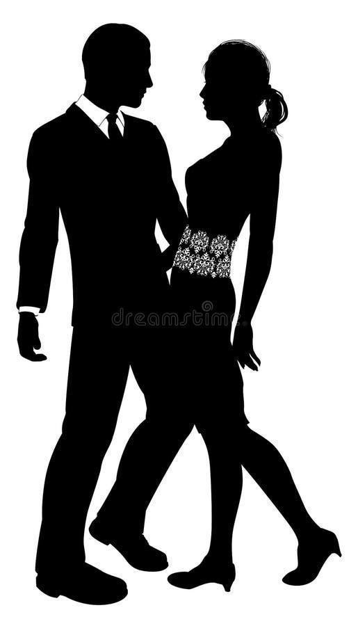 Siluetta attraente delle coppie royalty illustrazione gratis