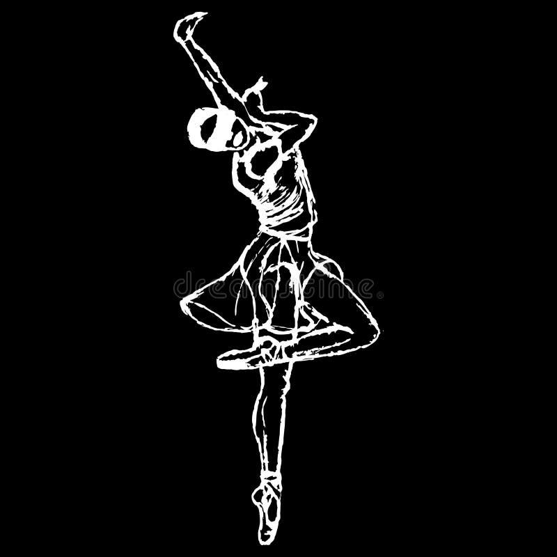 Siluetta bianca della ragazza ballante cieca su fondo nero Ballerino di Balet illustrazione di stock