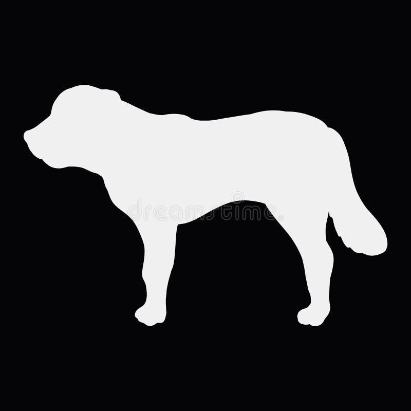 Siluetta bianca di grande cane muscolare su un fondo nero illustrazione vettoriale