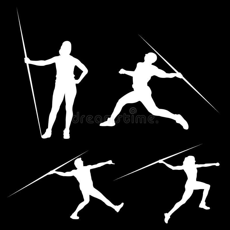 Siluetta bianca di un uomo con una lancia nelle pose differenti, su un fondo nero royalty illustrazione gratis