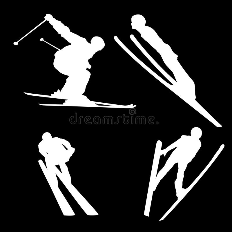Siluetta bianca di uno sciatore nelle pose differenti su un fondo nero illustrazione vettoriale