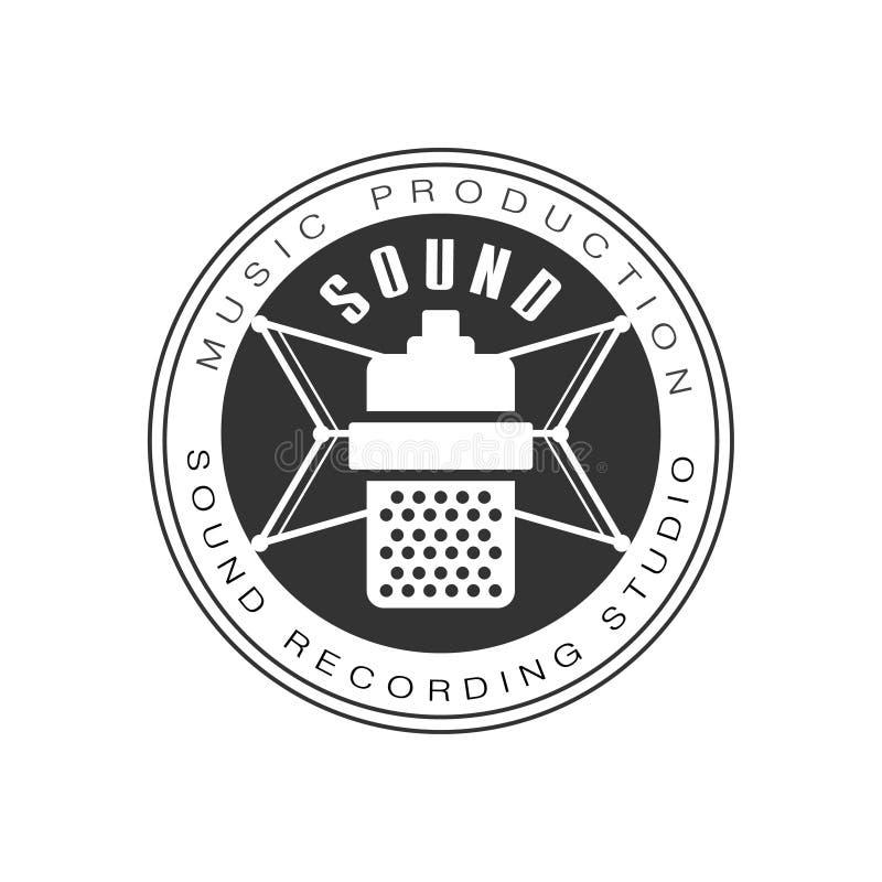 Siluetta in bianco e nero del microfono di Logo Template With Sound Recording dello studio record di musica retro illustrazione di stock