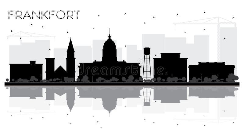 Siluetta in bianco e nero dell'orizzonte della città del Kentucky U.S.A. di frankfurter illustrazione di stock