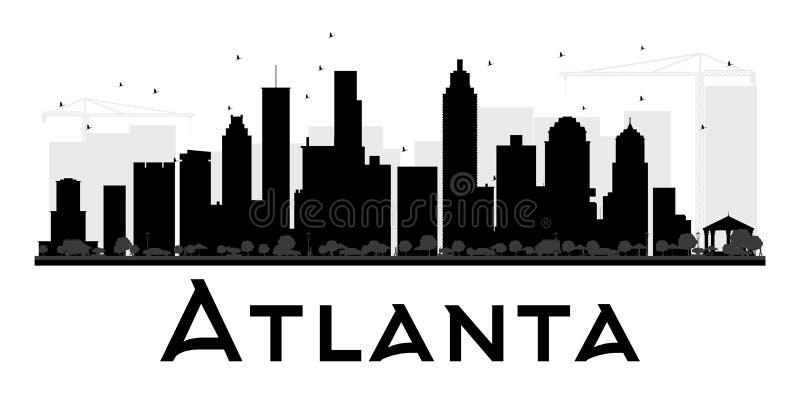 Siluetta in bianco e nero dell'orizzonte della città di Atlanta illustrazione vettoriale
