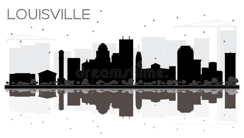 Siluetta in bianco e nero dell'orizzonte della città di Louisville Kentucky U.S.A. illustrazione di stock