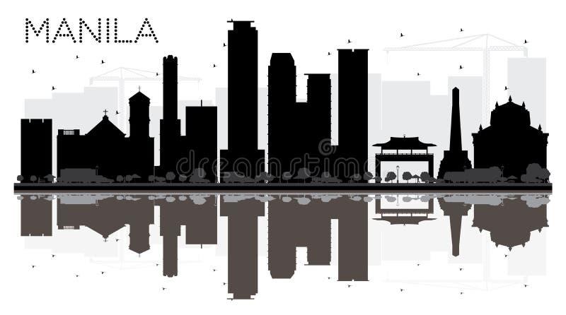Siluetta in bianco e nero dell'orizzonte della città di Manila con le riflessioni illustrazione di stock
