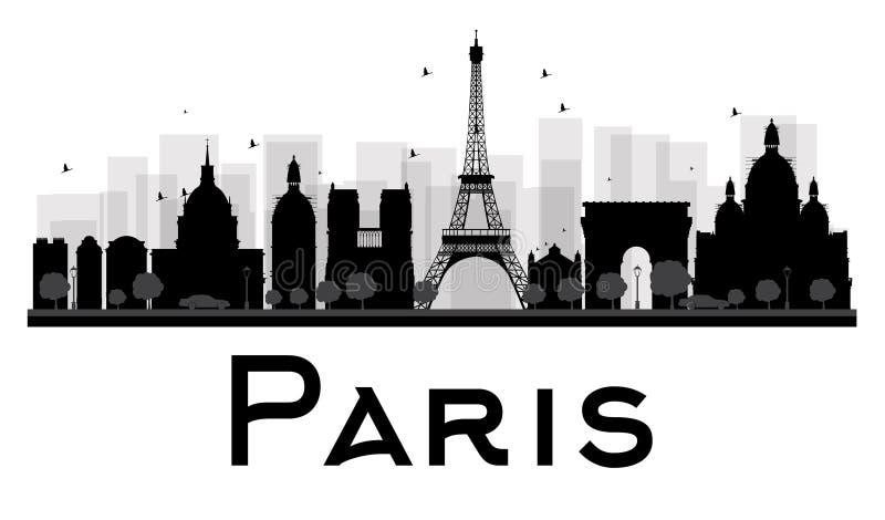 Siluetta in bianco e nero dell'orizzonte della città di Parigi illustrazione di stock