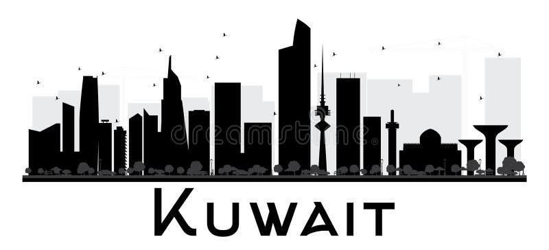 Siluetta in bianco e nero dell'orizzonte di Madinat al-Kuwait royalty illustrazione gratis