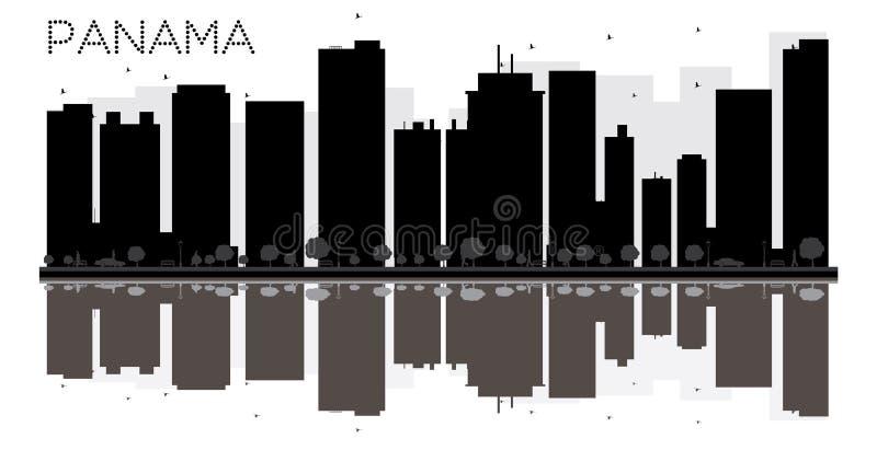 Siluetta in bianco e nero dell'orizzonte di Panamá con le riflessioni royalty illustrazione gratis