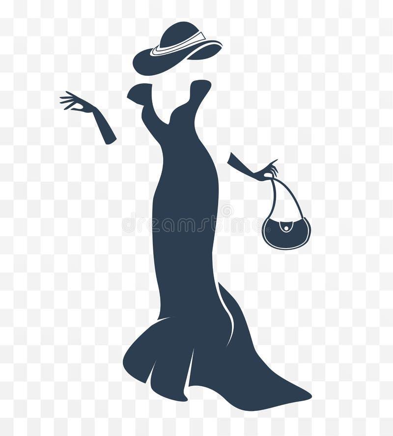 Siluetta in bianco e nero di una signora illustrazione vettoriale