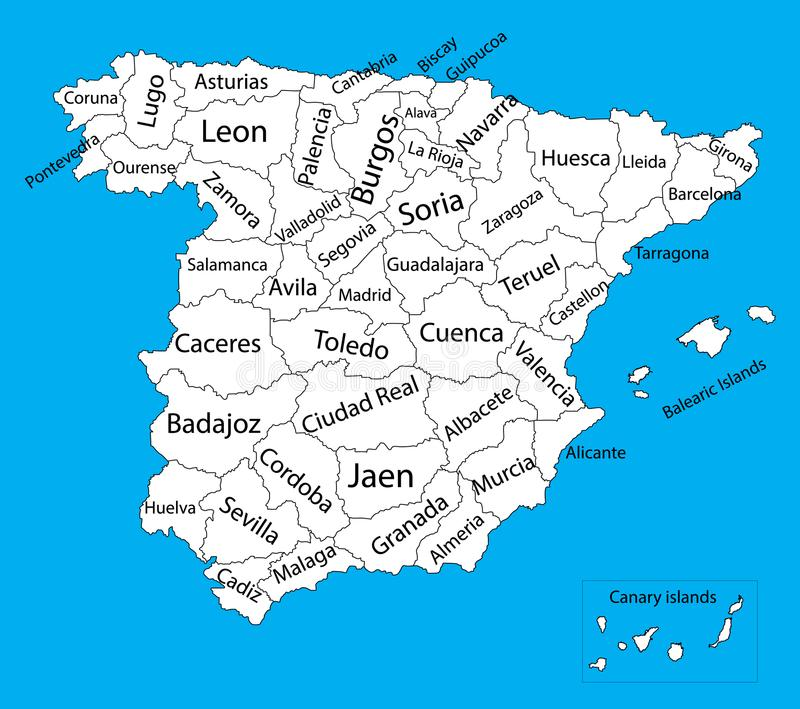 Siluetta in bianco editabile della mappa di vettore della Spagna illustrazione di stock