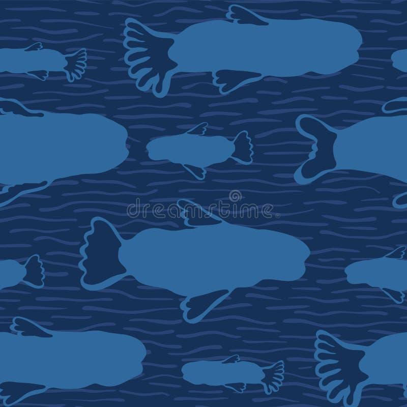 Siluetta blu del pesce, fondo animale del modello di vettore dell'alga senza cuciture illustrazione di stock