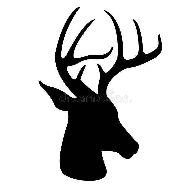 Siluetta capa del nero di vettore dei cervi illustrazione di stock