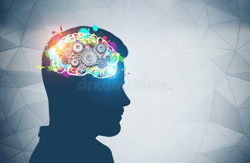 Siluetta capa dell'uomo, cervello del dente royalty illustrazione gratis