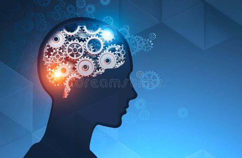 Siluetta capa dell'uomo con il cervello dell'ingranaggio illustrazione di stock