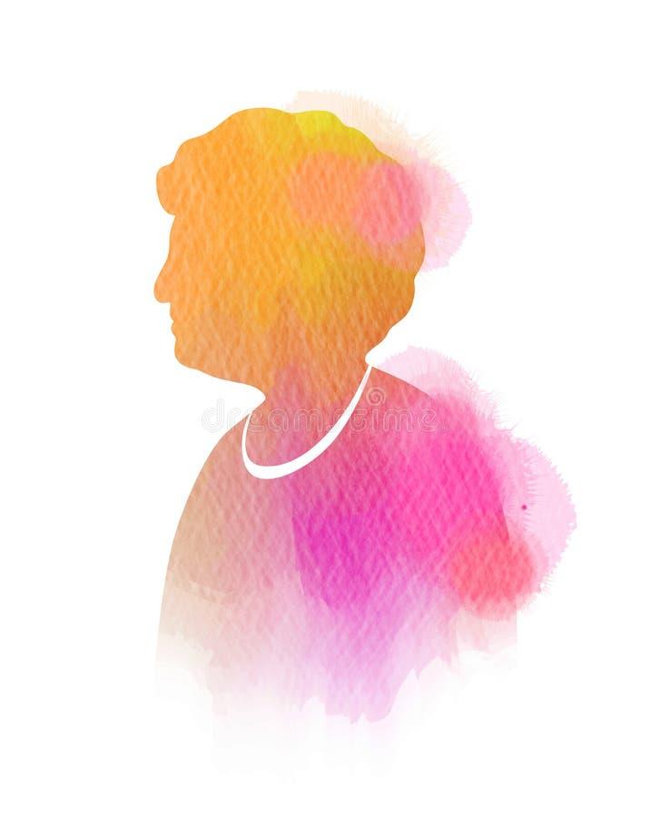 Siluetta capa della donna anziana più l'acquerello Pittura di arte di Digital royalty illustrazione gratis