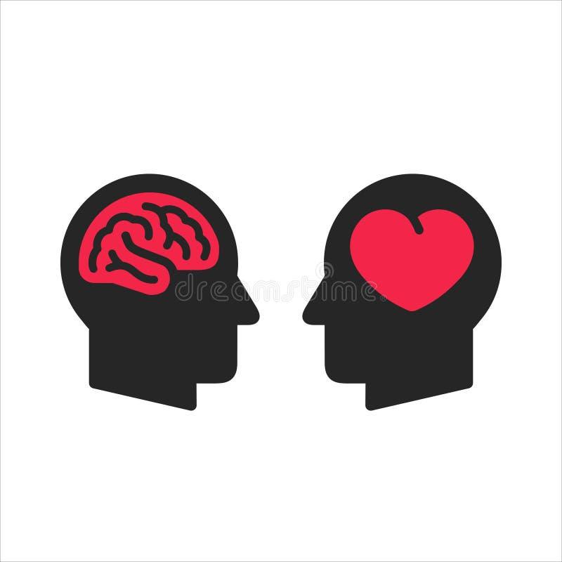 Siluetta capa due con cuore ed interno di simboli del cervello, logica e concetto di scelta di tatto, icone piane di stile illustrazione di stock