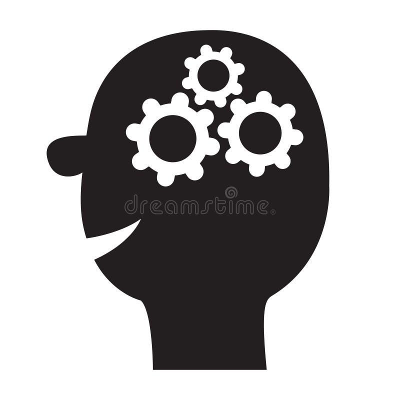 Siluetta capa umana del nero dell'icona del fronte Ruote di ingranaggi dentro il cervello Concetto di affari del lavoro di gruppo royalty illustrazione gratis