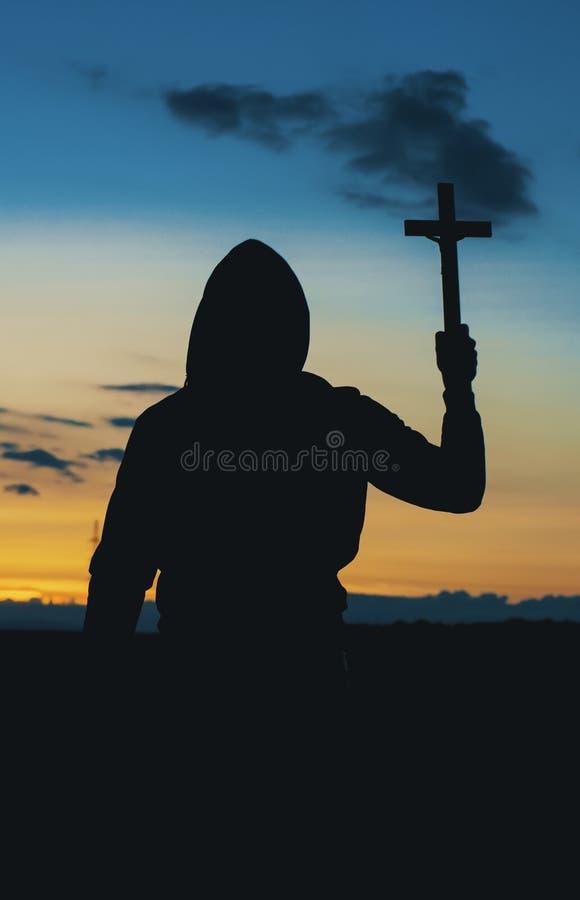 Siluetta Christian Priest fotografia stock