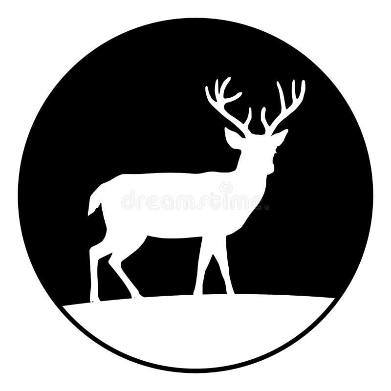 Siluetta circolare e monocromatica dei cervi su un'icona della collina Isolato su bianco illustrazione di stock