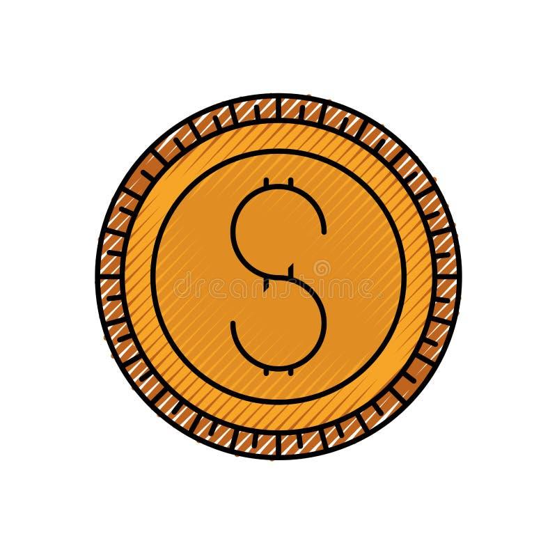 Siluetta colorata del pastello dell'icona della moneta illustrazione vettoriale
