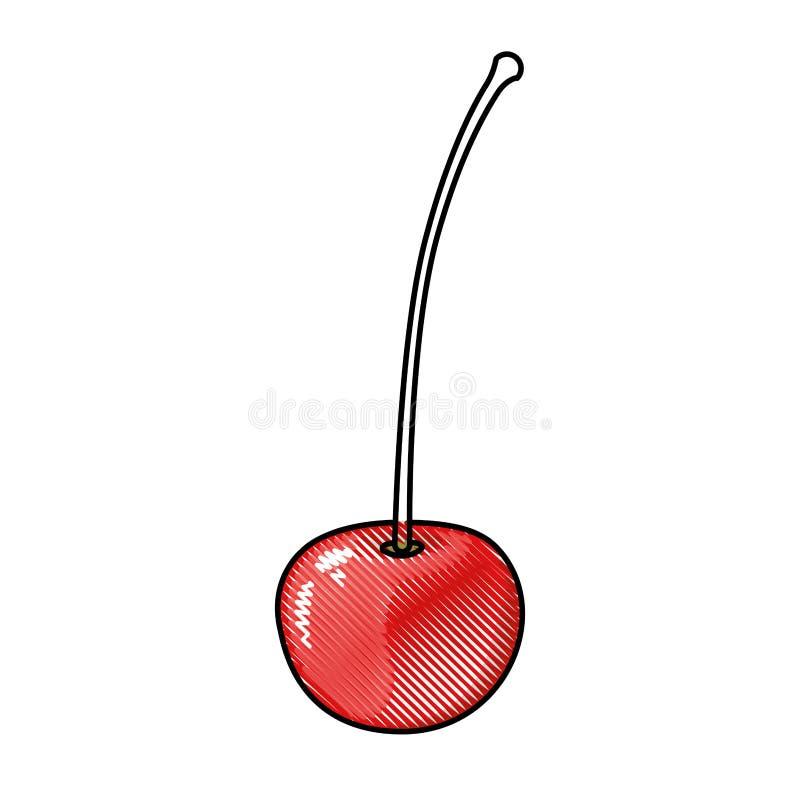 Siluetta colorata del pastello della ciliegia con il gambo royalty illustrazione gratis