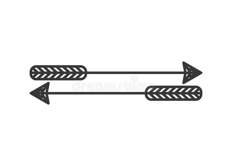 Siluetta con due frecce di tiro con l'arco illustrazione vettoriale