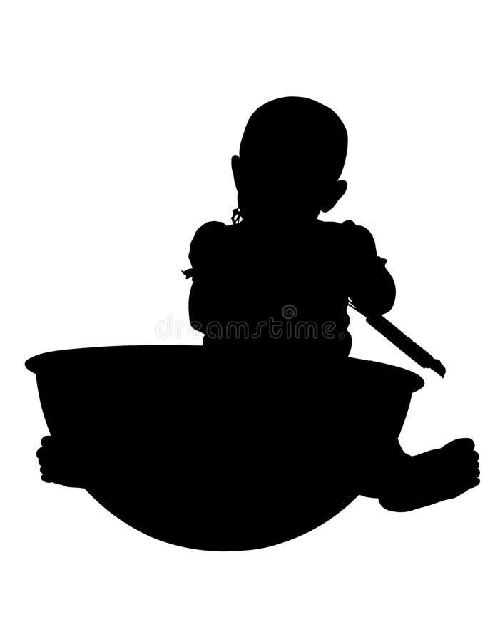 Siluetta con il bambino del percorso di residuo della potatura meccanica con la ciotola gigante fotografie stock libere da diritti