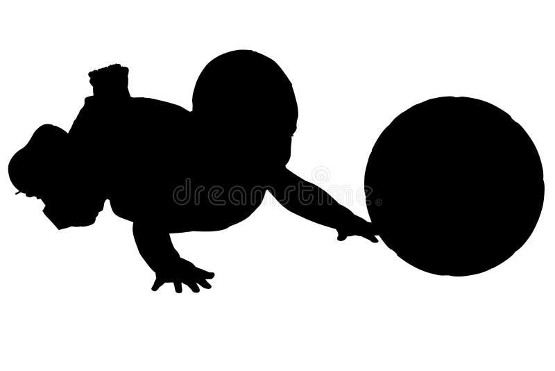 Siluetta con il percorso di residuo della potatura meccanica del bambino con la sfera. fotografie stock
