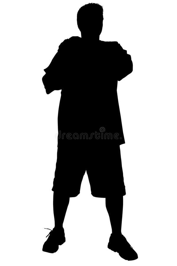 Siluetta con il percorso di residuo della potatura meccanica dell'uomo che si leva in piedi con le braccia attraversate illustrazione vettoriale