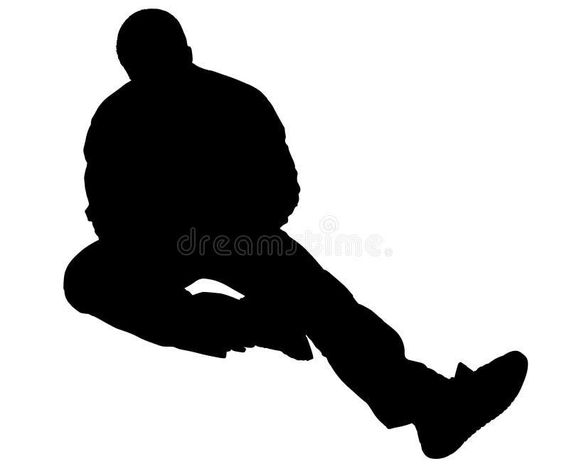 Siluetta con il percorso di residuo della potatura meccanica dell'uomo che si siede sul pavimento illustrazione vettoriale