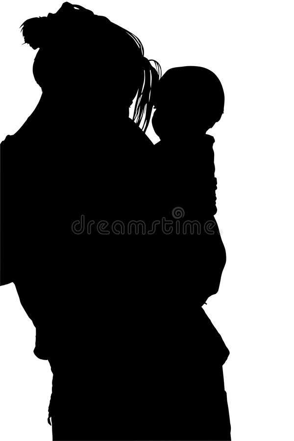 Siluetta con il percorso di residuo della potatura meccanica della donna con il bambino illustrazione di stock