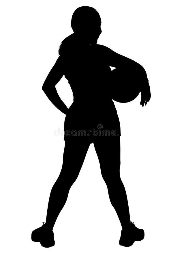 Siluetta con il percorso di residuo della potatura meccanica della donna con pallacanestro sotto il braccio royalty illustrazione gratis