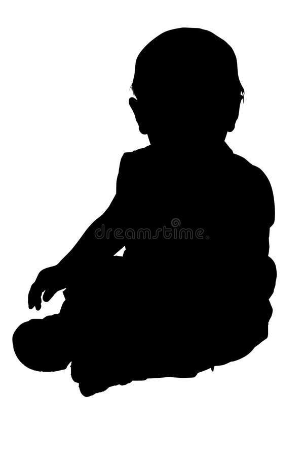 Siluetta con il percorso di residuo della potatura meccanica di seduta del bambino immagini stock libere da diritti