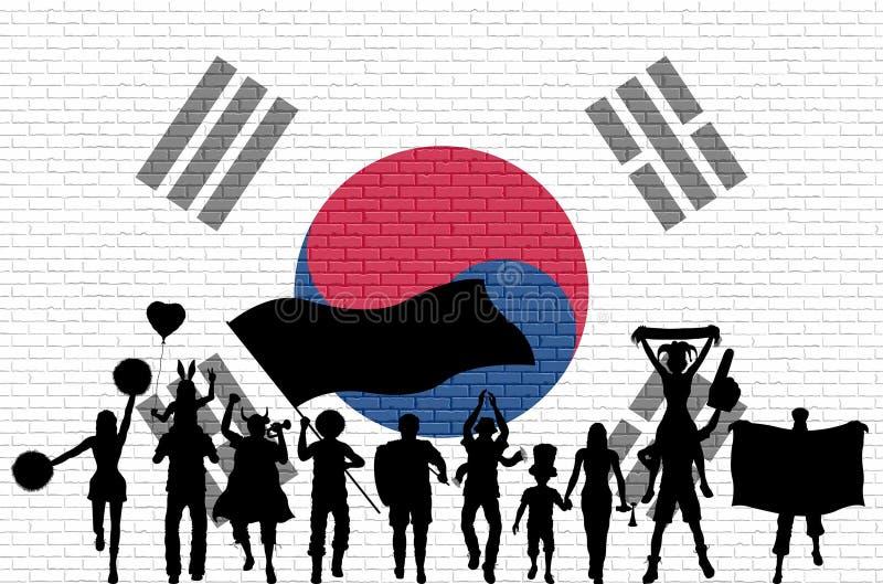 Siluetta coreana del sostenitore davanti al muro di mattoni con Ko del sud royalty illustrazione gratis
