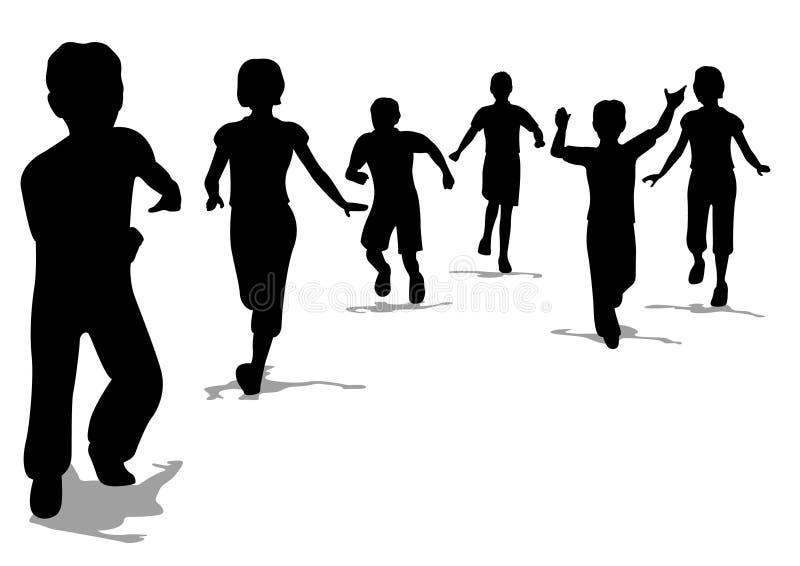 Siluetta corrente dei bambini, vettore illustrazione di stock