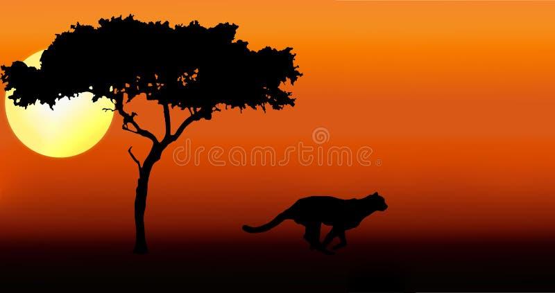 Siluetta corrente del ghepardo illustrazione di stock
