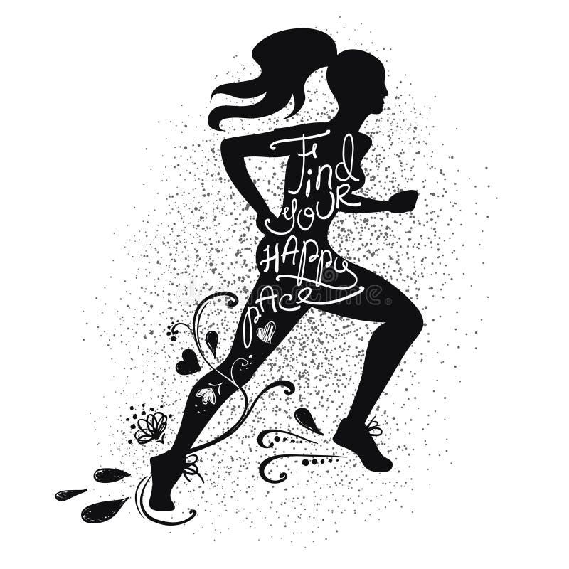 Siluetta corrente della donna isolata il nero illustrazione di stock