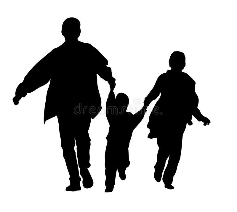 Siluetta corrente della famiglia illustrazione di stock