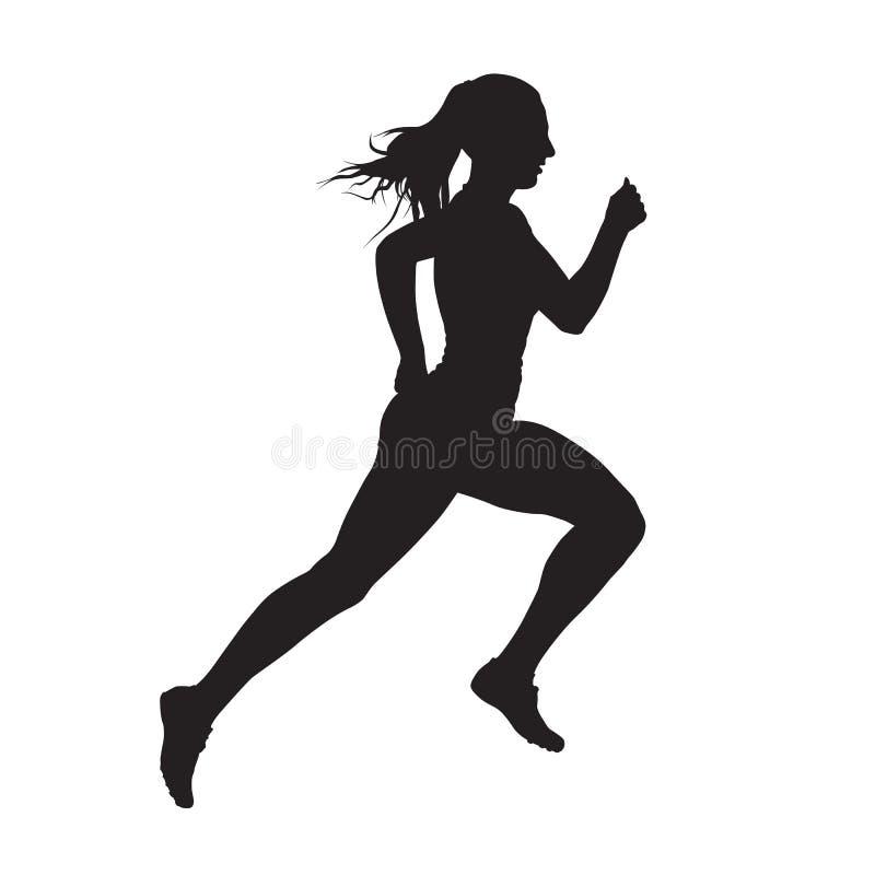 Siluetta corrente di vettore di vista laterale della donna illustrazione vettoriale