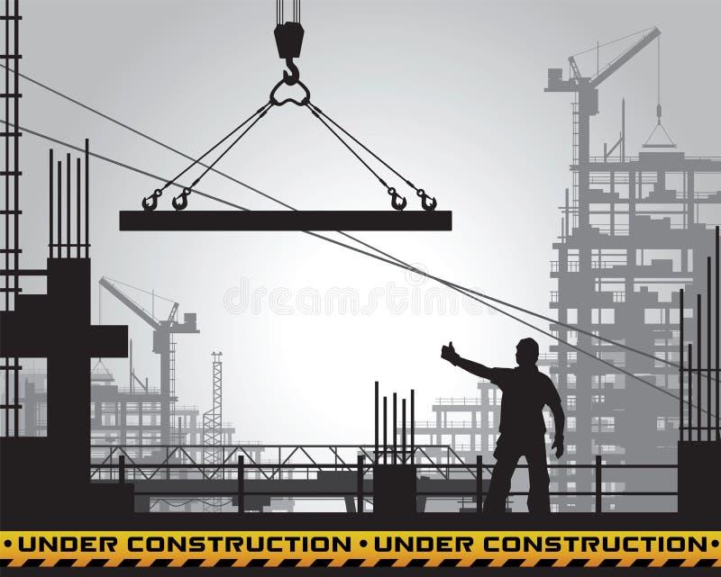 Siluetta in costruzione di costruzione illustrazione di stock