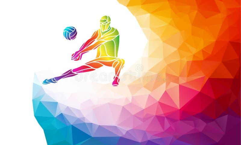 Siluetta creativa del giocatore di pallavolo Illustrazione di vettore dello sport di squadra o modello dell'insegna in variopinto illustrazione vettoriale